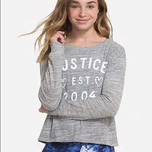 NWT Justice Logo long sleeve tee
